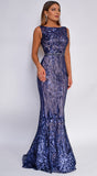 Ally Navy Blue Sequin Print Gown