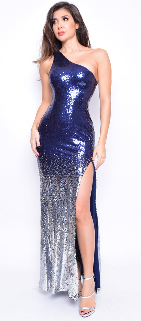 Nyala Navy Blue Ombre One Shoulder Gown