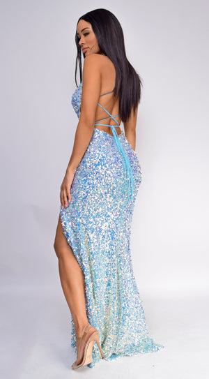 Sofia Opal Blue Sequin Gown