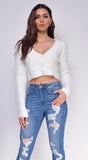 Bexley White Button Crop Sweater Top