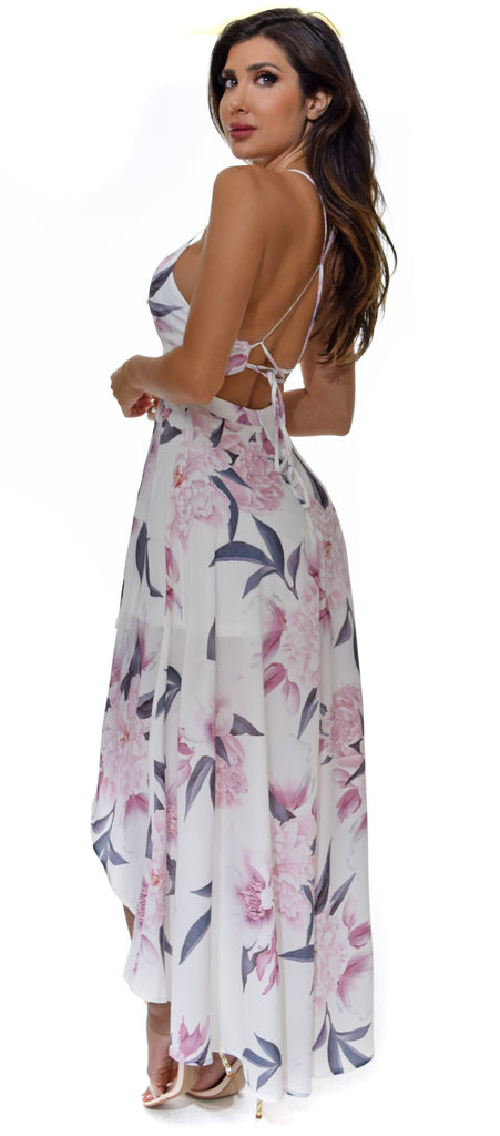 Beren White Floral High Low Maxi Dress - Emprada
