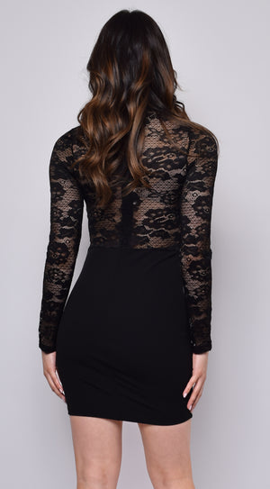 Mimi Black Lace Long Sleeve Dress