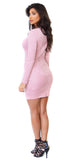 Pink Long Sleeve Faux Suede Mini Dress - Emprada