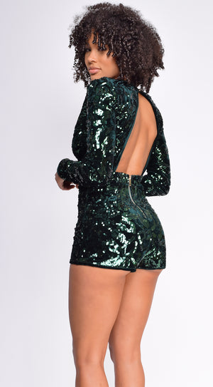 Marcellina Hunter Green Deep V Neck Sequin Velvet Romper
