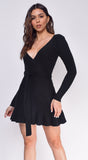 Anya Black V Neck Ribbed Dress