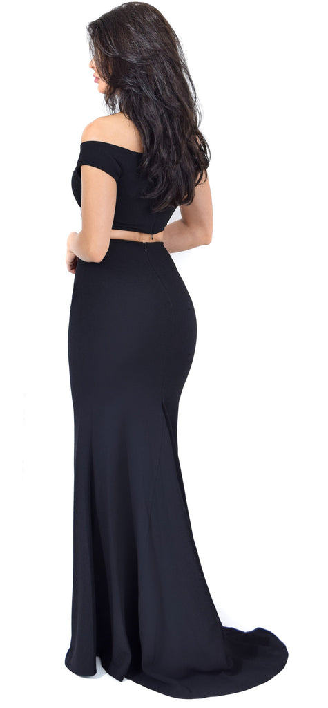 Black Off Shoulder Maxi Two Piece Set Dress - Emprada