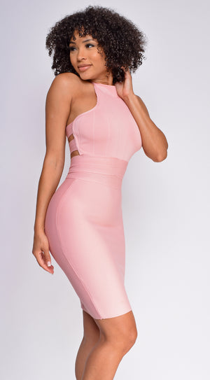 Nayeli Pink High Neck Bandage Dress