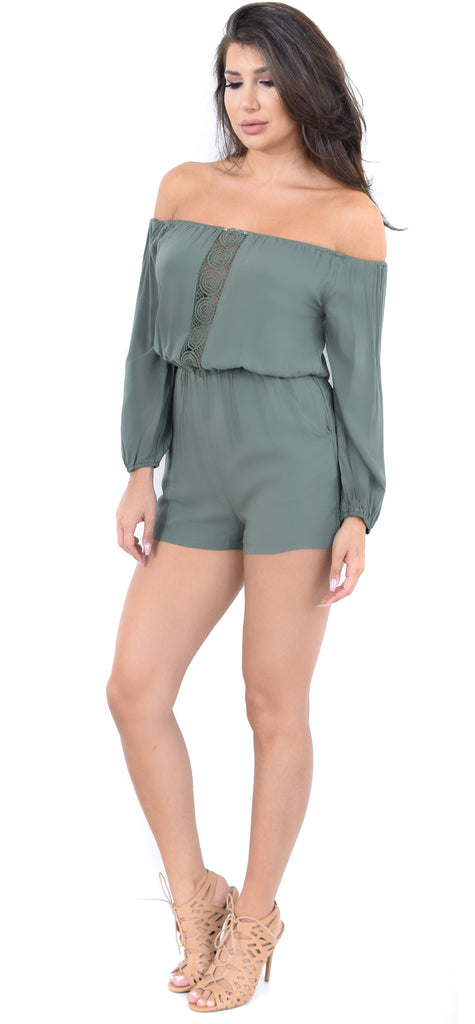 Olive Crochet Panel Off Shoulder Romper - Emprada