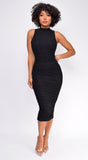 Delina Black High Neck Ruched Midi Dress