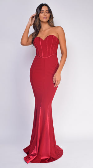 Sydney Red Strapless Stain Detail Gown