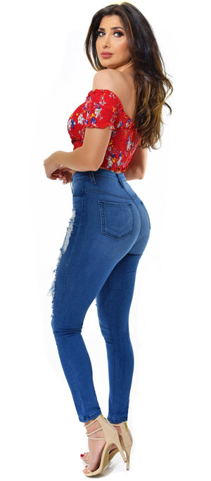 Can't Do Better High Waist Distressed Jeans - Emprada