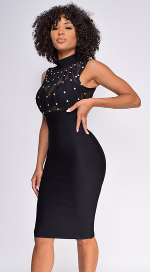 Alishia Black High Neck Mesh Studded Bandage Dress