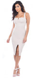 Carla Taupe Front Slit Dress - Emprada