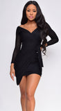 Stella Black Long Sleeve Wrap Dress