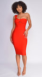 Milana Red One Shoulder Bandage Dress