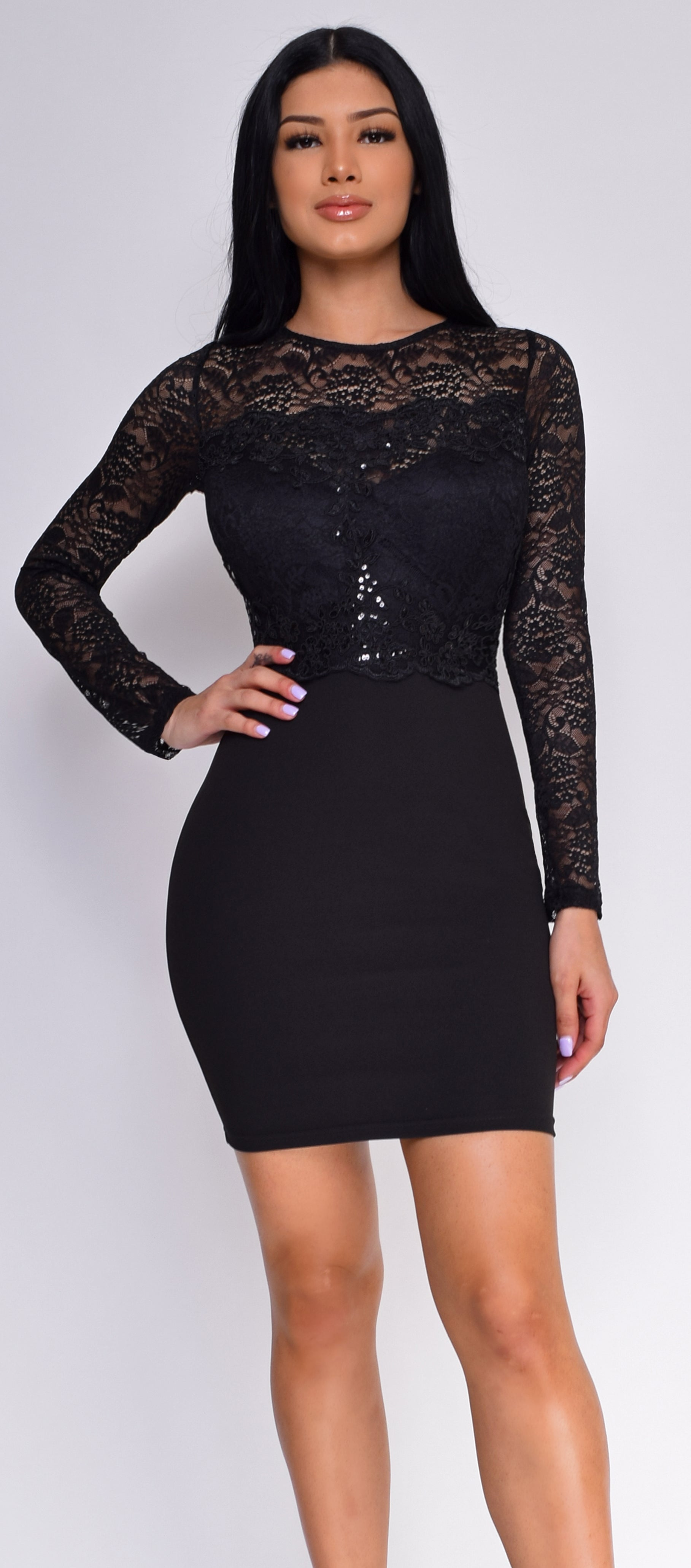 Rosann Black Sequin Lace Long Sleeve Dress
