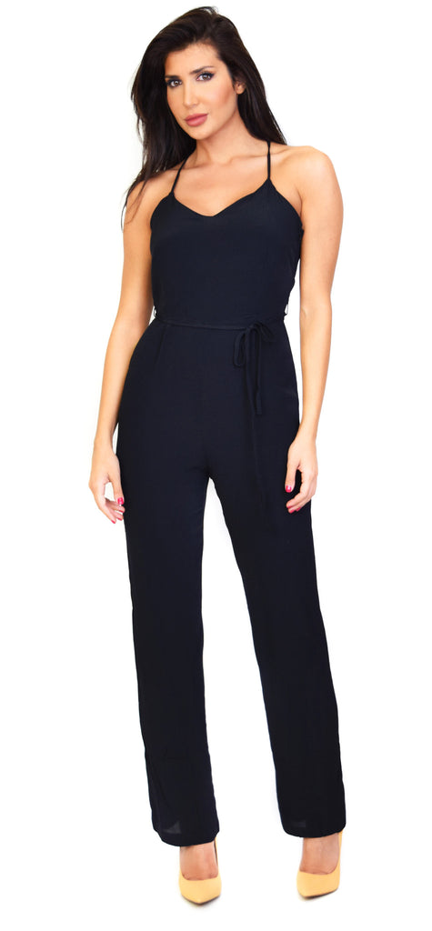 Black Cross Back Jumpsuit - Emprada