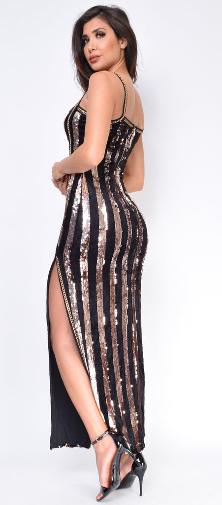 f3d54fd837a7 Evren Black Rose Gold Velvet Sequin Maxi Dress - Emprada