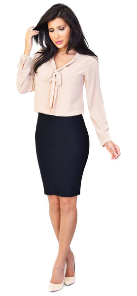 Madison Front Tie Nude Blouse - Emprada