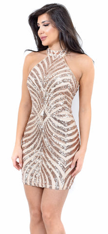 Christa Rose Gold Sequin Dress