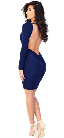 Audrey Open Back Navy Dress - Emprada