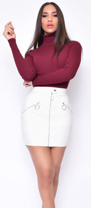 Azalea Off White Faux Leather Skirt - Emprada