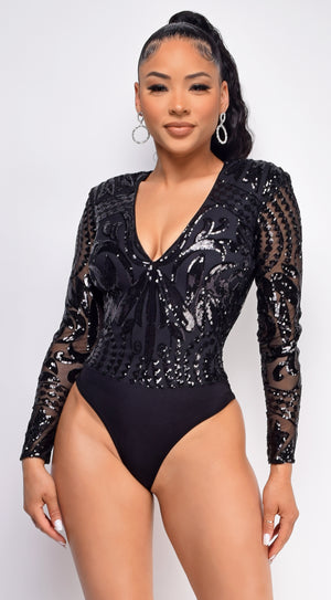 Carlita Black Sequin Bodysuit
