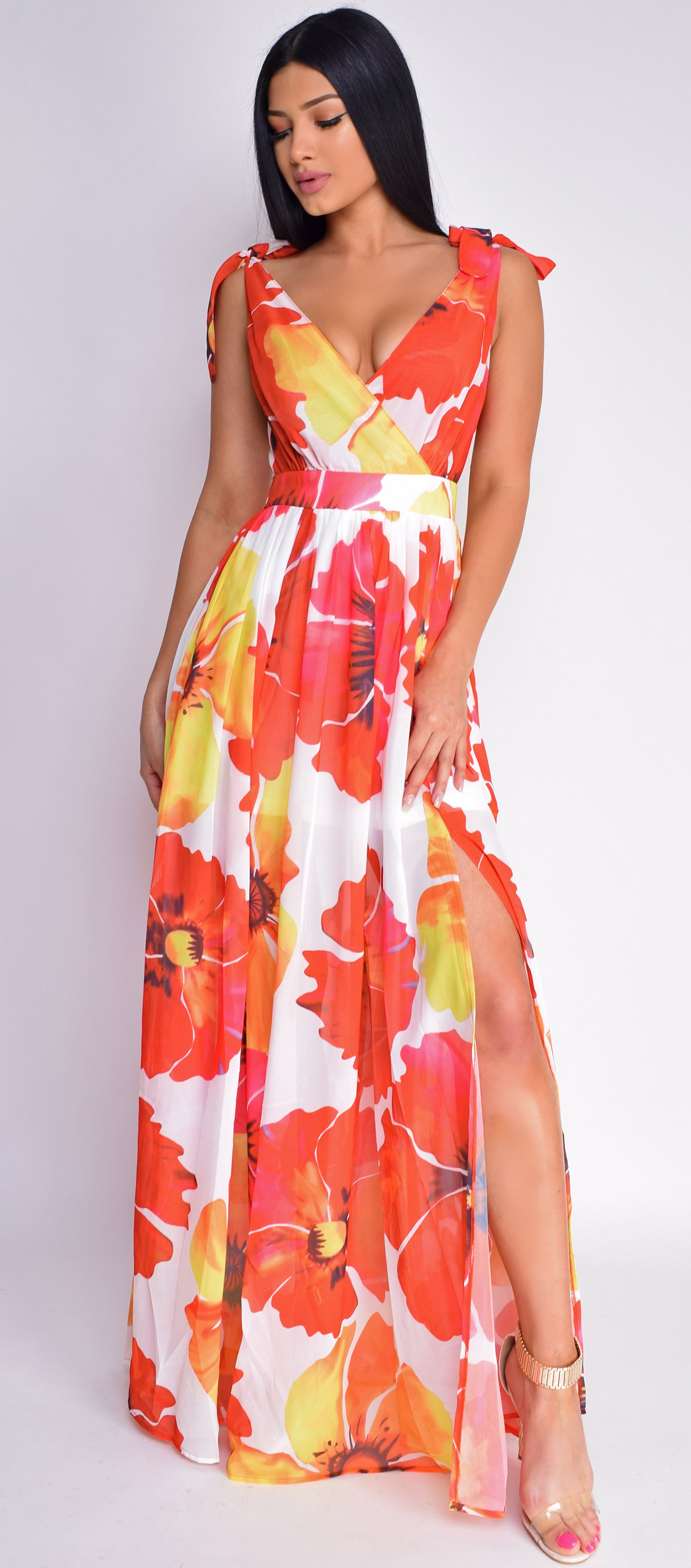 Jerrica Orange Yellow Floral Maxi Dress