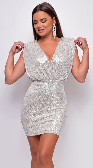 Stare Silver Nude Sequin V-Neck Shoulder Pad Mini Dress