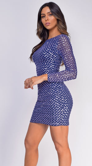 Kimberly Navy Blue Sequin Long Sleeve Dress