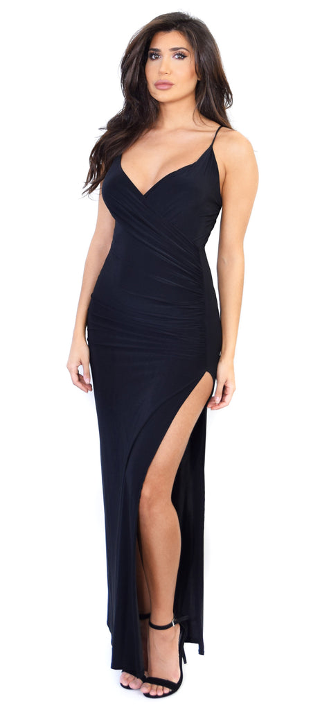 Erina Black Wrap Maxi Dress - Emprada