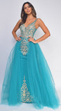 Kara Teal Blue Gold Beaded Flyaway Skirt Gown