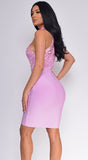 Ravyn Pink Crochet Lace High Neck Bandage Dress