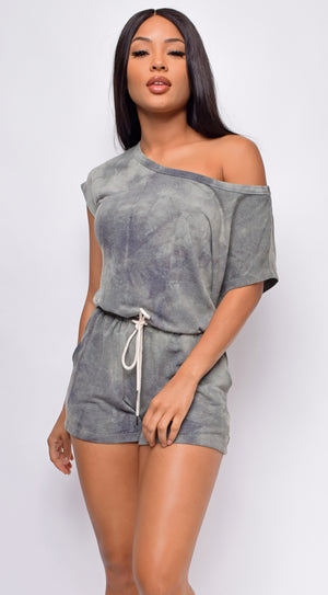Sade Olive Green Tie-Dye Off Shoulder Romper