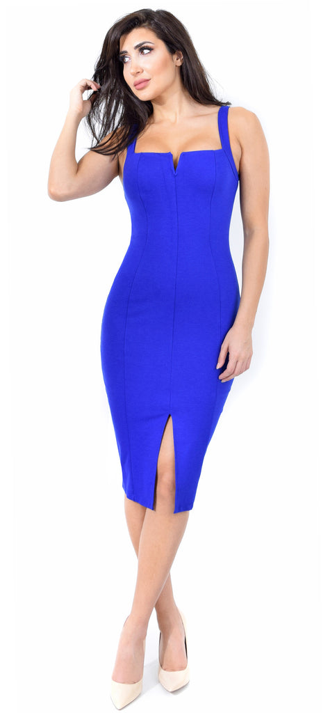 Carla Royal Blue Front Slit Dress