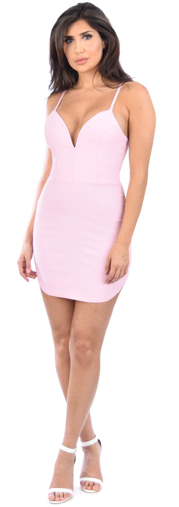Raquel Dusty Pink Curved Hem Dress - Emprada