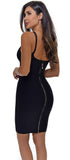 Paloma Black Ribbed Bust Bandage Dress