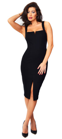 Carla Black Front Slit Dress - Emprada