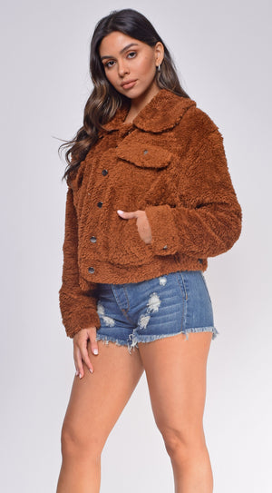 Kenise Brown Teddy Jacket