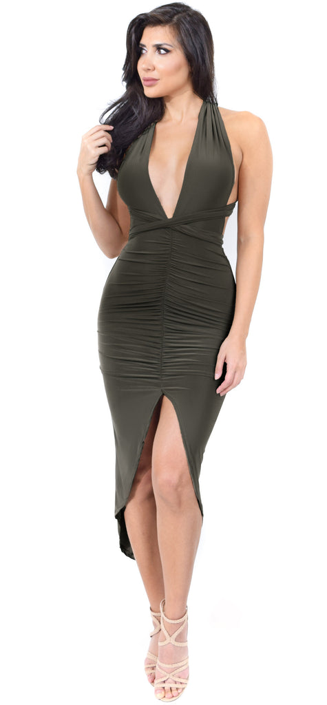Kiana Olive Multiway Ruched Dress - Emprada