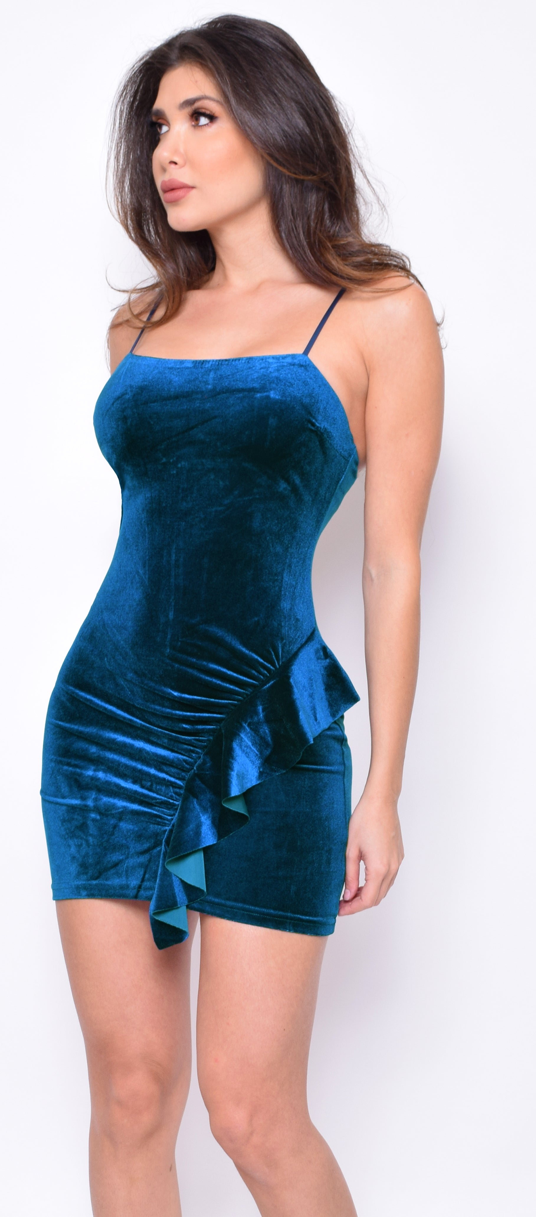 Elitsa Teal Blue Velvet Side Ruffle Dress - Emprada