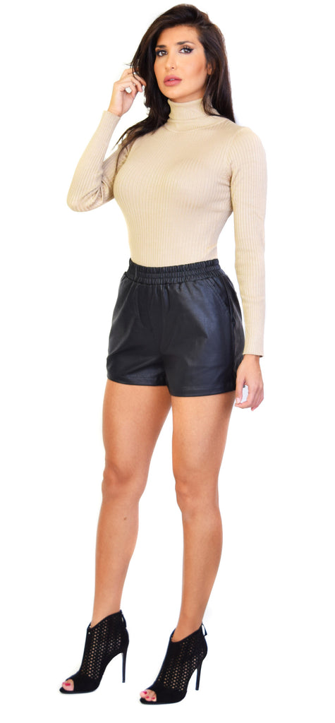 Black PU Shorts - Emprada