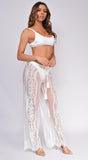 Long Island White Mesh Lace Cover Up Pants