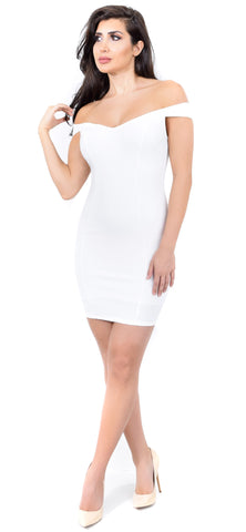 Adriah White Off Shoulder Dress