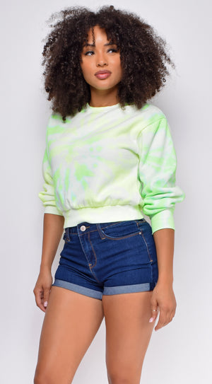 Myra Lime Green Tie Dye Cropped French Terry Sweater