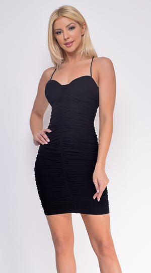 Alexina Black Open Back Ruched Mini Dress