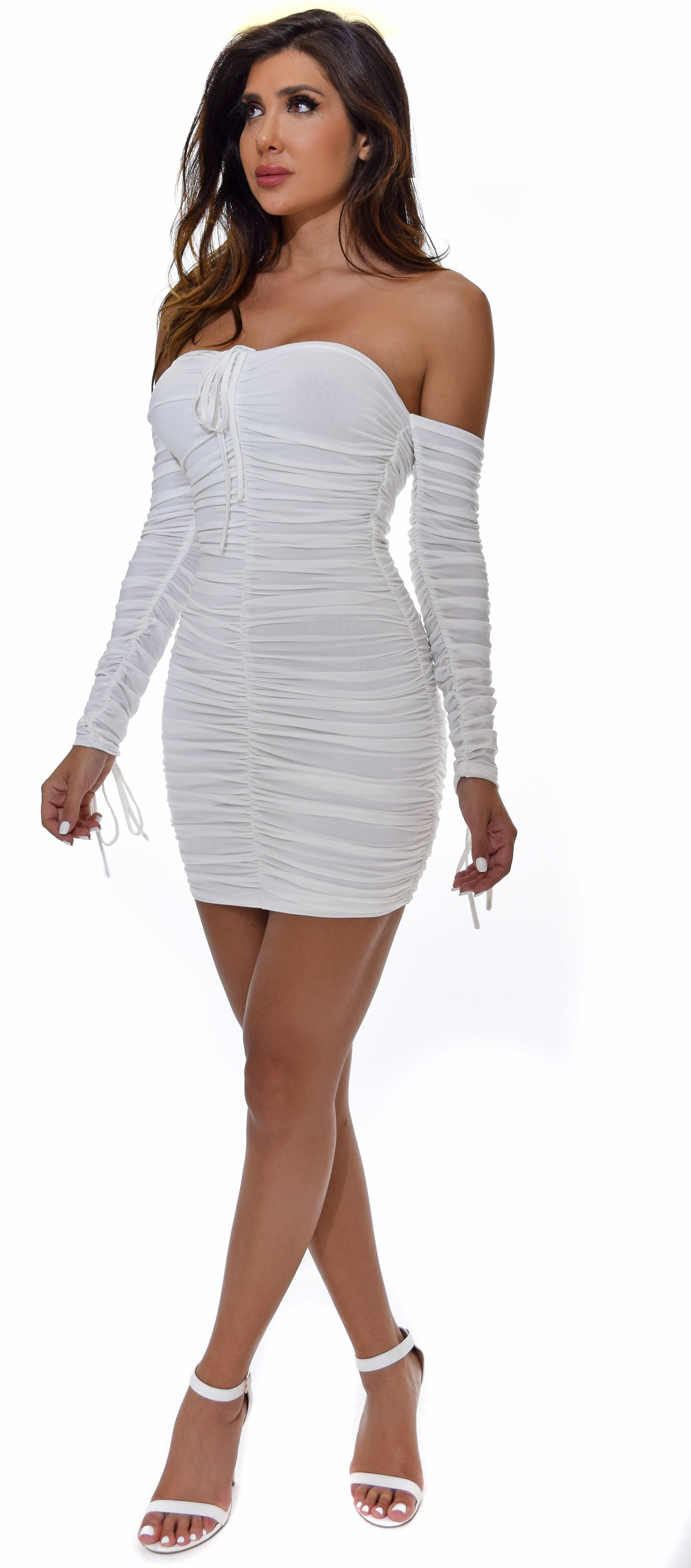 Maleya White Ruched Dress