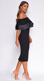 Raylin Black Satin Trim Ruffle Off Shoulder Midi Dress