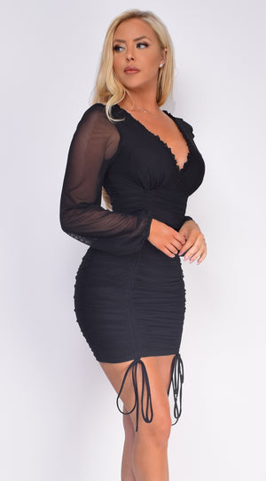 Abigail Black Ruched Mesh Dress
