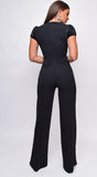 Jaqueta Black Sequin Mesh Short Sleeve Jumpsuit